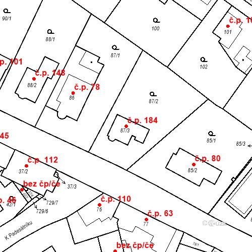 Katastrální mapa Stavební objekt Přední Kopanina 184, Praha