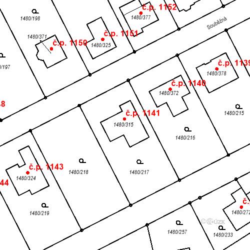Katastrální mapa Stavební objekt Bechyně 1141, Bechyně