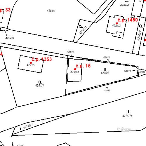 Katastrální mapa Stavební objekt Černošice 15, Černošice