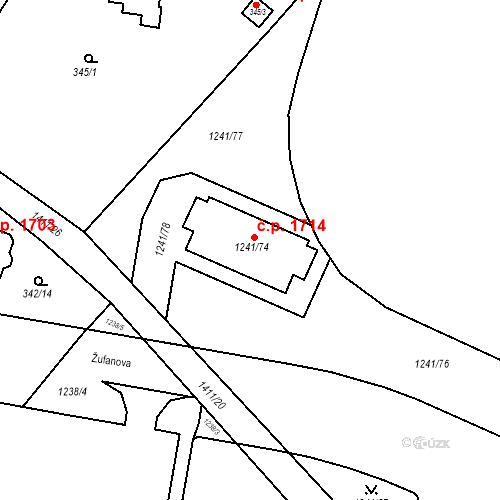 Katastrální mapa Stavební objekt Řepy 1714, Praha