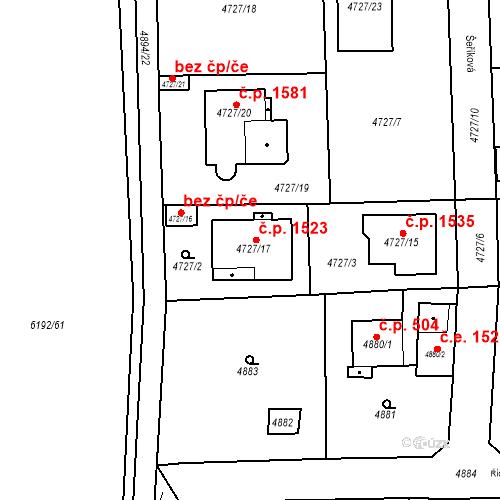 Katastrální mapa Stavební objekt Černošice 1523, Černošice