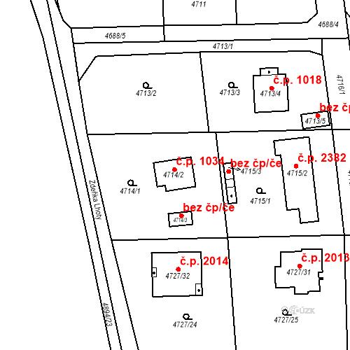 Katastrální mapa Stavební objekt Černošice 1034, Černošice