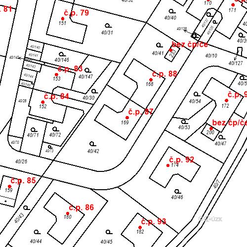 Katastrální mapa Stavební objekt Noutonice 87, Lichoceves