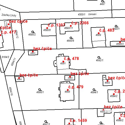 Katastrální mapa Stavební objekt Černošice 478, Černošice
