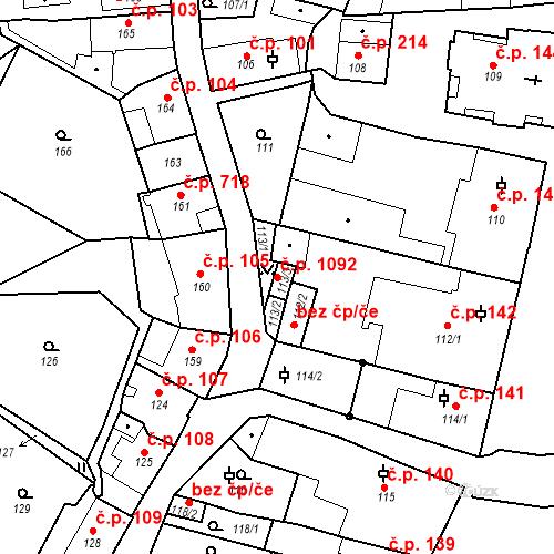 Katastrální mapa Stavební objekt Bechyně 1092, Bechyně