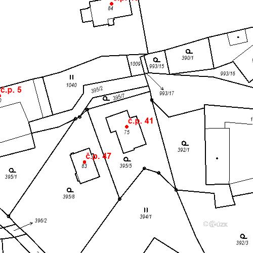 Katastrální mapa Stavební objekt Todně 41, Trhové Sviny