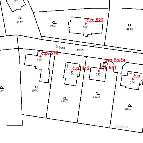 Katastrální mapa Stavební objekt Tuchoměřice 442, Tuchoměřice