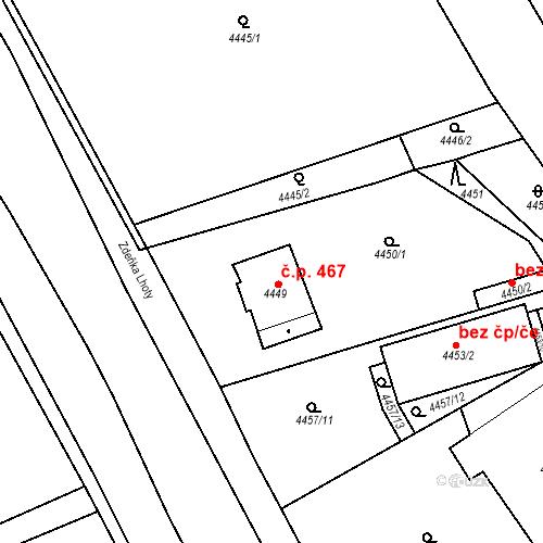 Katastrální mapa Stavební objekt Černošice 467, Černošice