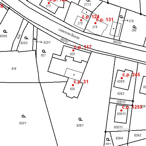 Katastrální mapa Stavební objekt Srubec 31, Srubec
