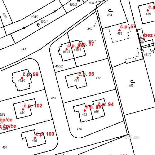 Katastrální mapa Stavební objekt Chlum 96, Nalžovice