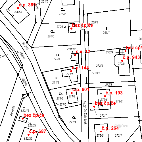 Katastrální mapa Stavební objekt Srubec 144, Srubec