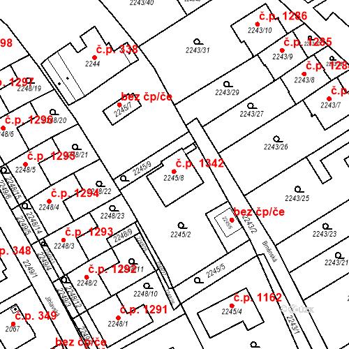Katastrální mapa Stavební objekt Černošice 1342, Černošice