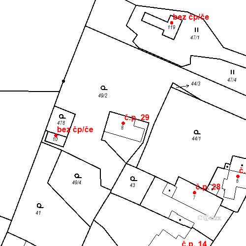 Katastrální mapa Stavební objekt Počaply 29, Terezín