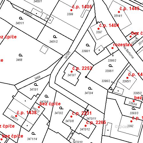 Katastrální mapa Stavební objekt Dobrá Voda u Českých Budějovic 2252, Dobrá Voda u Českých Budějovic