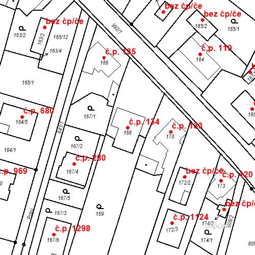 Katastrální mapa Stavební objekt Srubec 134, Srubec