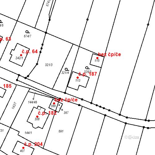 Katastrální mapa Stavební objekt Počaply 187, Terezín