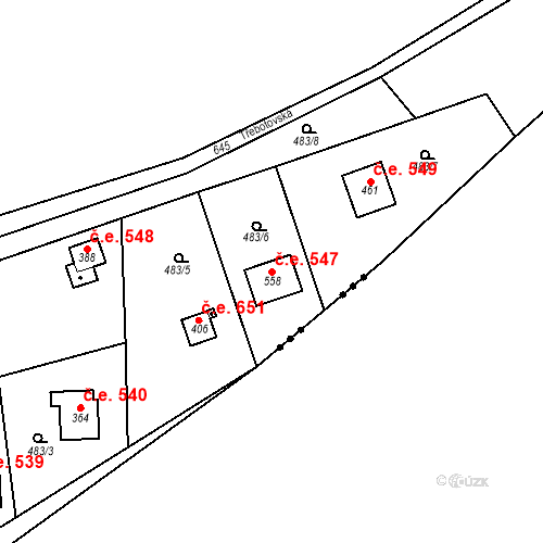 Katastrální mapa Stavební objekt Solopisky 547, Třebotov
