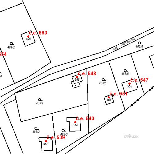Katastrální mapa Stavební objekt Solopisky 548, Třebotov