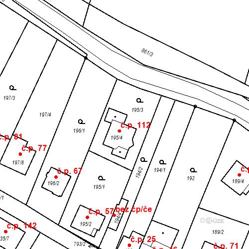 Katastrální mapa Stavební objekt Hůrka 112, Nová Ves