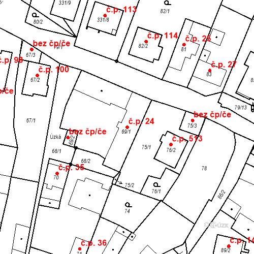 Katastrální mapa Stavební objekt Staré Hodějovice 24, Staré Hodějovice