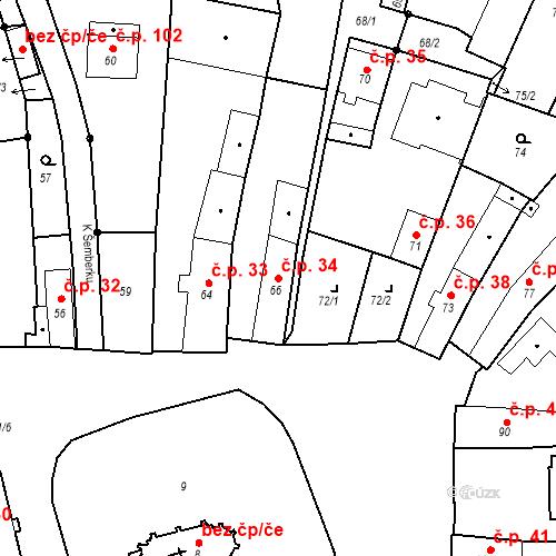 Katastrální mapa Stavební objekt Staré Hodějovice 34, Staré Hodějovice