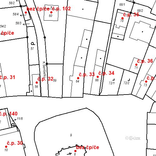 Katastrální mapa Stavební objekt Staré Hodějovice 33, Staré Hodějovice