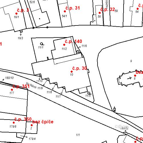 Katastrální mapa Stavební objekt Staré Hodějovice 30, Staré Hodějovice