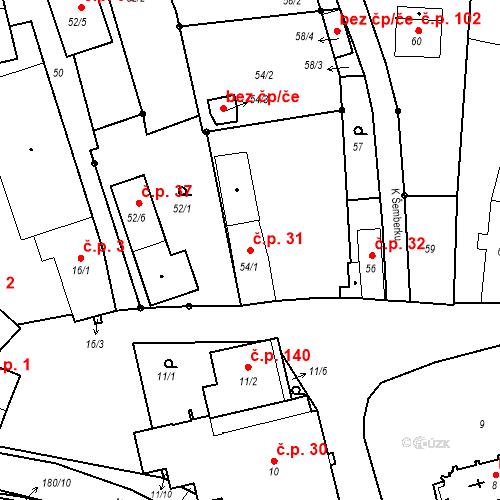 Katastrální mapa Stavební objekt Staré Hodějovice 31, Staré Hodějovice