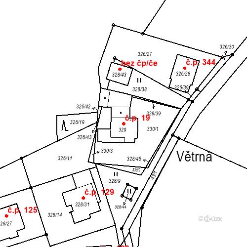 Katastrální mapa Stavební objekt Staré Hodějovice 19, Staré Hodějovice
