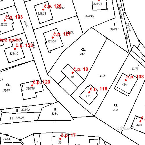 Katastrální mapa Stavební objekt Staré Hodějovice 18, Staré Hodějovice