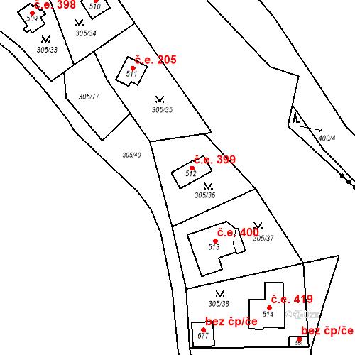 Katastrální mapa Stavební objekt Černolice 399, Černolice