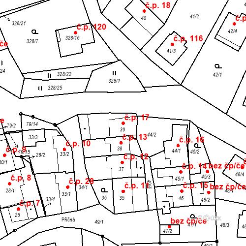 Katastrální mapa Stavební objekt Staré Hodějovice 17, Staré Hodějovice