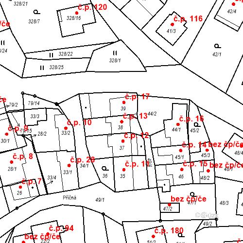 Katastrální mapa Stavební objekt Staré Hodějovice 13, Staré Hodějovice