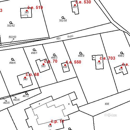 Katastrální mapa Stavební objekt Solopisky 550, Třebotov