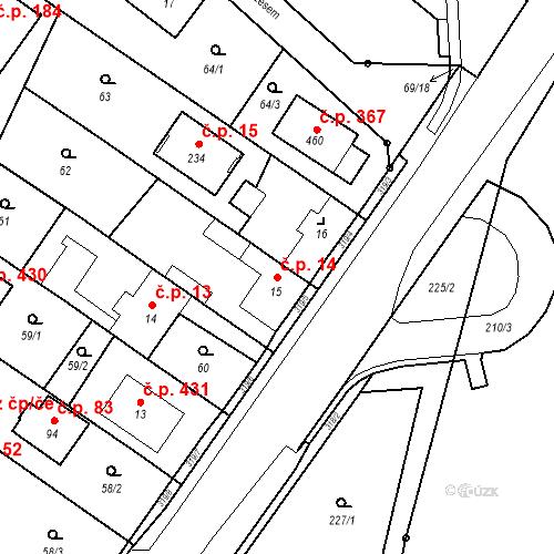 Katastrální mapa Stavební objekt Borek 14, Borek