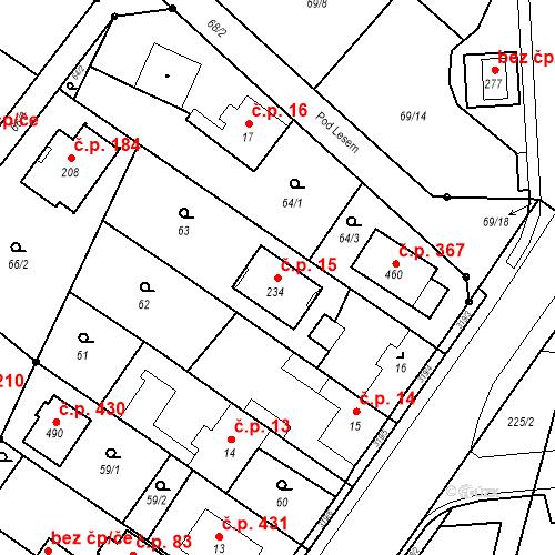 Katastrální mapa Stavební objekt Borek 15, Borek