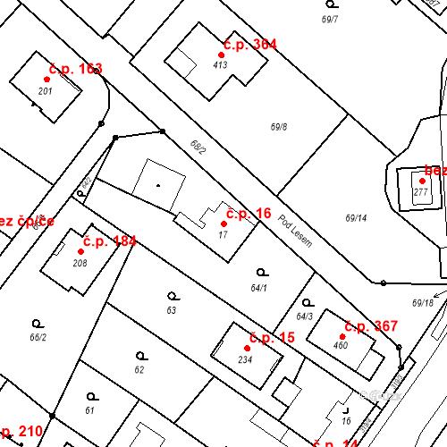 Katastrální mapa Stavební objekt Borek 16, Borek