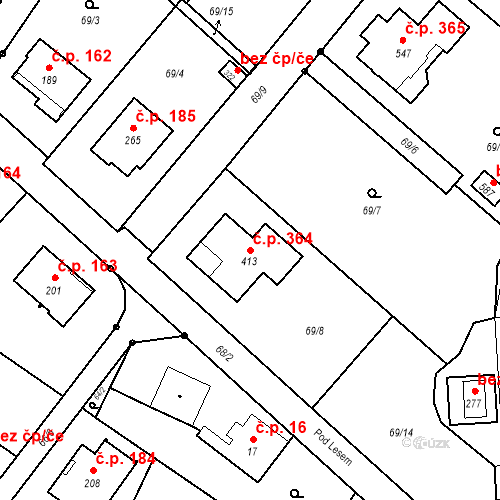 Katastrální mapa Stavební objekt Borek 364, Borek