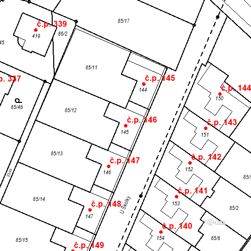 Katastrální mapa Stavební objekt Borek 146, Borek