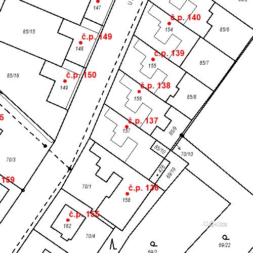 Katastrální mapa Stavební objekt Borek 137, Borek