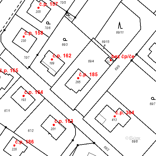 Katastrální mapa Stavební objekt Borek 185, Borek