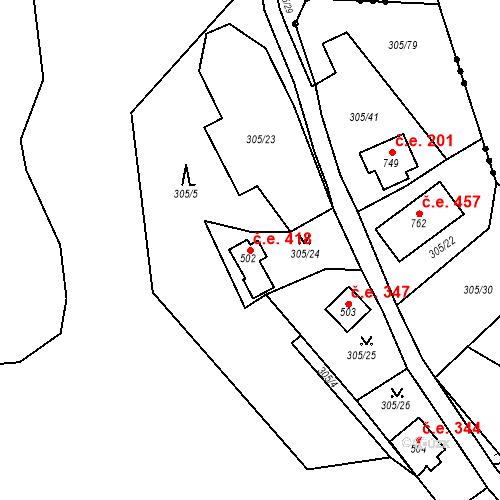 Katastrální mapa Stavební objekt Černolice 418, Černolice