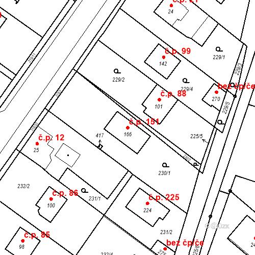 Katastrální mapa Stavební objekt Borek 151, Borek