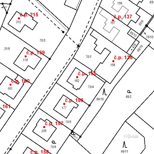 Katastrální mapa Stavební objekt Borek 155, Borek