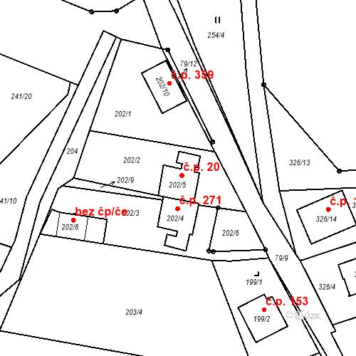 Katastrální mapa Stavební objekt Staré Hodějovice 20, Staré Hodějovice