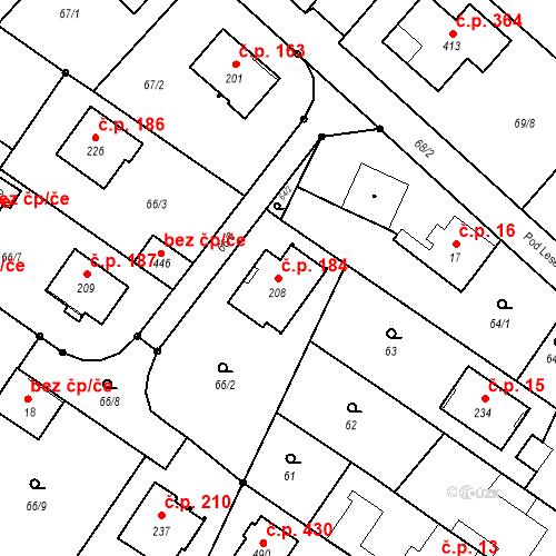 Katastrální mapa Stavební objekt Borek 184, Borek