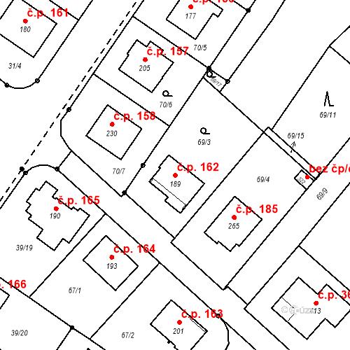 Katastrální mapa Stavební objekt Borek 162, Borek