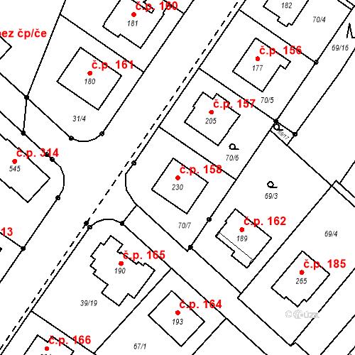 Katastrální mapa Stavební objekt Borek 158, Borek