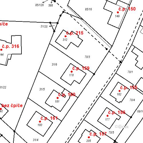 Katastrální mapa Stavební objekt Borek 159, Borek