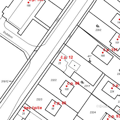 Katastrální mapa Stavební objekt Borek 12, Borek